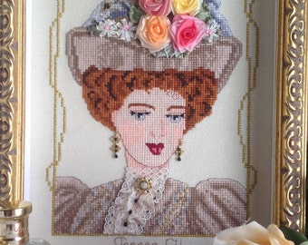 Edwardian Beauty : Victoria- Victorian Edwardian style PDF Counted cross stitch Chart pattern Instant Download