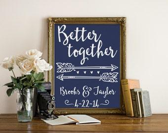 "Better Together Print, Custom Wedding Print, Custom Anniversary Print, Wedding print, Anniversary Print, Custom Print,  Quote, ""Print"""