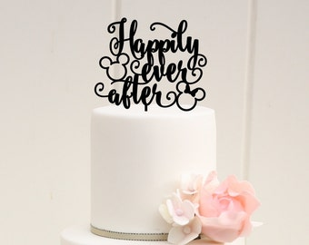 Mickey Head Happily Ever After Wedding Cake Topper - Disney Wedding Cake Topper