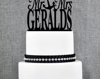 Mr and Mrs Last Name Cake Topper with Anchor, Mr and Mrs Cake Topper, Wedding Cake Topper, Elegant Cake Topper - (T040)