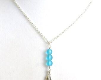 Sailboat Sea Glass Nautical Aqua Glass Bead Beach Resort Ocean Necklace You Choose Necklace Length