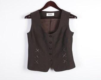Chocolate Brown Women's Vest Linen Blend Formal Romantic Brown Waistcoat Medium Size