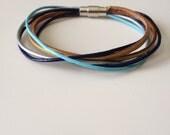 Blue Gold Silver Multi Strand Leather Bracelet - Blue Gold Bracelet - Magnet Clasp - Blue and Gold Leather Bracelet - Handmade Bracelet
