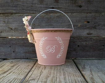 Pale Pink Rustic Flower Girl Pail, Personalized Flower Girl Pail, Rustic Wedding Decor, Flower Girl Basket, Wedding Centerpiece