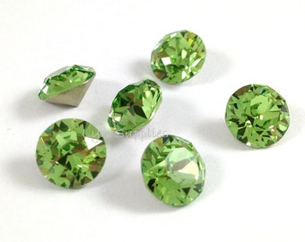 1088 ss39 PERIDOT Swarovski Crystal XIRIUS Chaton Pointed Back Round Stone 12 pieces