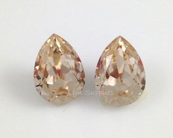 4320 LIGHT SILK 14x10mm Swarovski Crystal Pear Teardrop, 2pieces or 10pieces Light Champagne Gold