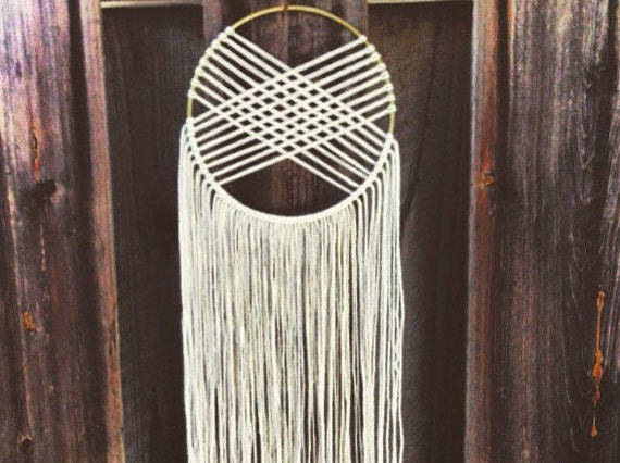 Round Woven Macrame Wall Hanging Dreamcatcher Ivory Gold