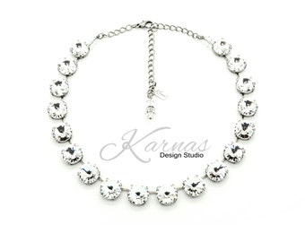 CRYSTAL CLEAR 14mm Crystal Rivoli Choker Made With Swarovski Elements *Antique Silver *Karnas Design Studio *Free Shipping