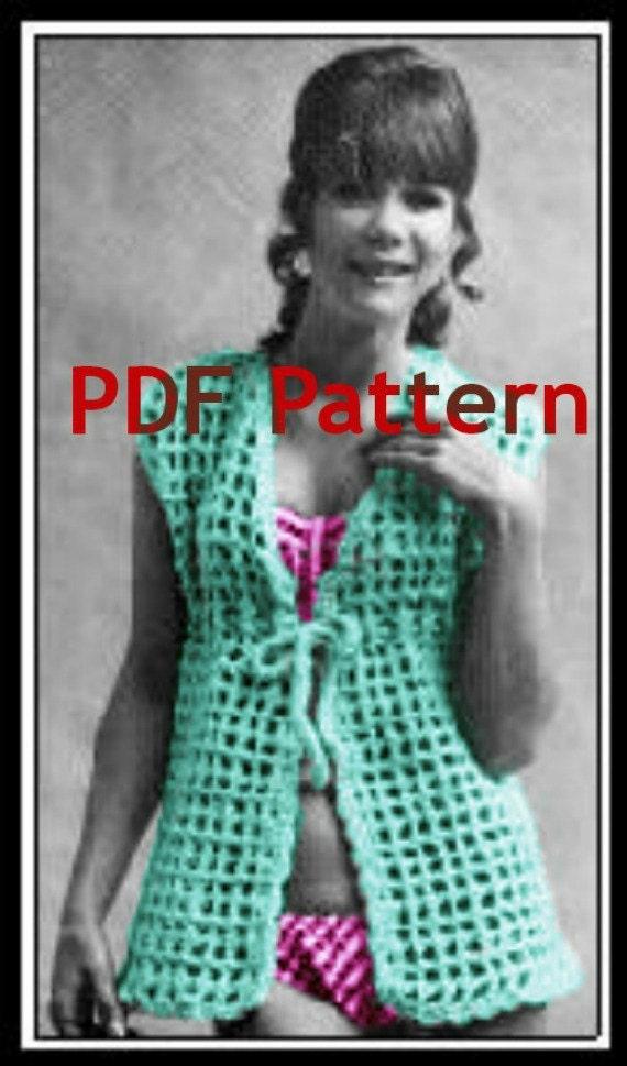 Hippie Beach Cover-up Swim Cover-up BoHo Gypsy Vest Vintage