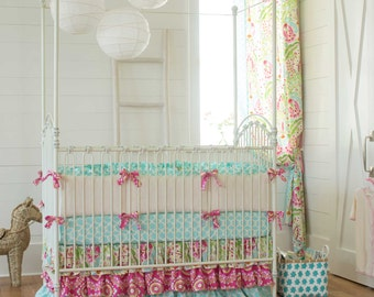 Girl Baby Crib Bedding: Kumari Garden Crib Bedding - Fabric Swatches Only