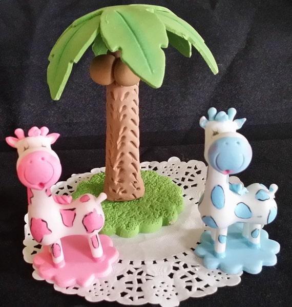 Safari Baby Shower Blue Giraffe Cake Topper Girl Safari Cake