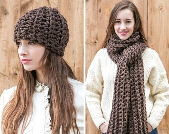 Wool Scarf and Hat Set // Chunky Knit Scarf and Beanie Hat // Scarf Set shown in Walnut