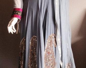 Indian Pakistani Pure Silk Crepe Hand embroidered Long Anarkali