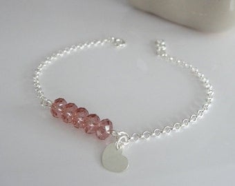 Bracelet in silver, bridesmaid or witness, ready to offer! Jewelry Wedding BLUSH pink