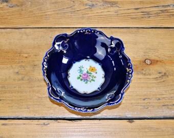 Vintage porcelain dish bowl -  Porfin Cluj Napoca Porcelain Romania - Blue Gold Trim Details Handpainted Flowers