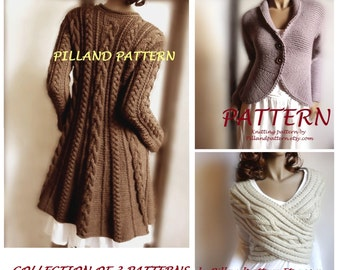 Cable Knit Coat Sweater Knitting Pattern Aran knit coat
