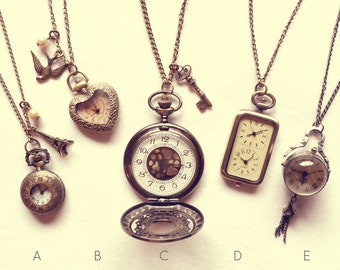 Alice in Wonderland Pocket Watch Necklace -Vintage Gold Double Clock Jewellery -Kitsch Gift Present - Bronze Paris Key Charm- Long Necklace