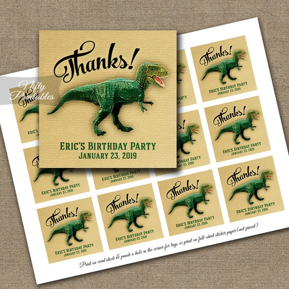 Dinosaur thank you tags dinosaur favor tags printable dinosaur
