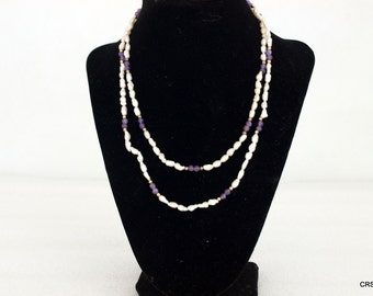Fresh water seed pearl necklace, accented with amethyst and gold beads, vintage