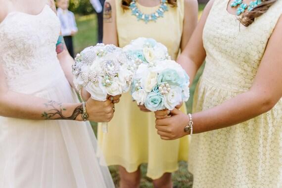 Mint Brooch Bouquet, Bridesmaid Bouquet, Silk Flower Bridal Bouquet, Mint Flower Bouquet, Wedding Bouquet, Brooch Bouquet, Wedding, WBQ12