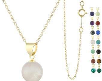 14k Solid Yellow Gold Natural  8mm Round / Ball Gemstones Pendant Necklace