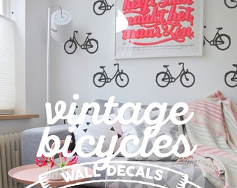 Vintage Bicycles Wall Pattern Decal: Urban Apartment Temporary Wallpaper