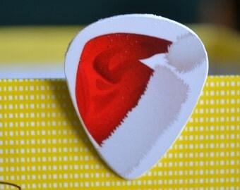 SALE*****Santa Cap, Upcycle Guitar Pick, Lapel/Decorative/Tie Pin*****SALE