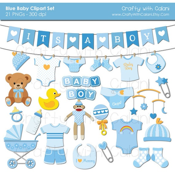 Baby Boy Clipart, Boy Baby Shower clipart, Instant Download, Banners, Teddy Bear, Sock Monkey, Onesie