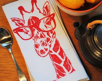 Cloth Dinner Napkins - Screen Printed Cotton - Giraffe Cloth Napkins - House Warming Gifts