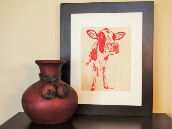 Wall Picture Art Print Kitchen Decor Red Cow By Heapshandworks