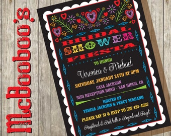 Mexican Bridal Shower Fiesta Invitation with scalloped edge