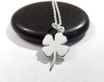 Four leaf clover necklace,  clover charm, Silver clover necklace, Shamrock necklace, Lucky charm , Every day necklace, Simple necklace