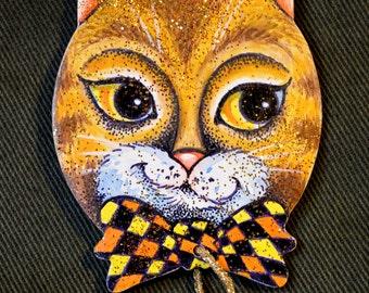 Kitten with a Checkerd Tie Ornament