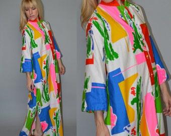 Sale Vintage 70s CAFTAN Pop Art MANDARIN Collar Abstract MAXI Dress Catherine Ogust Penthouse Gallery Osfm Was 72.00