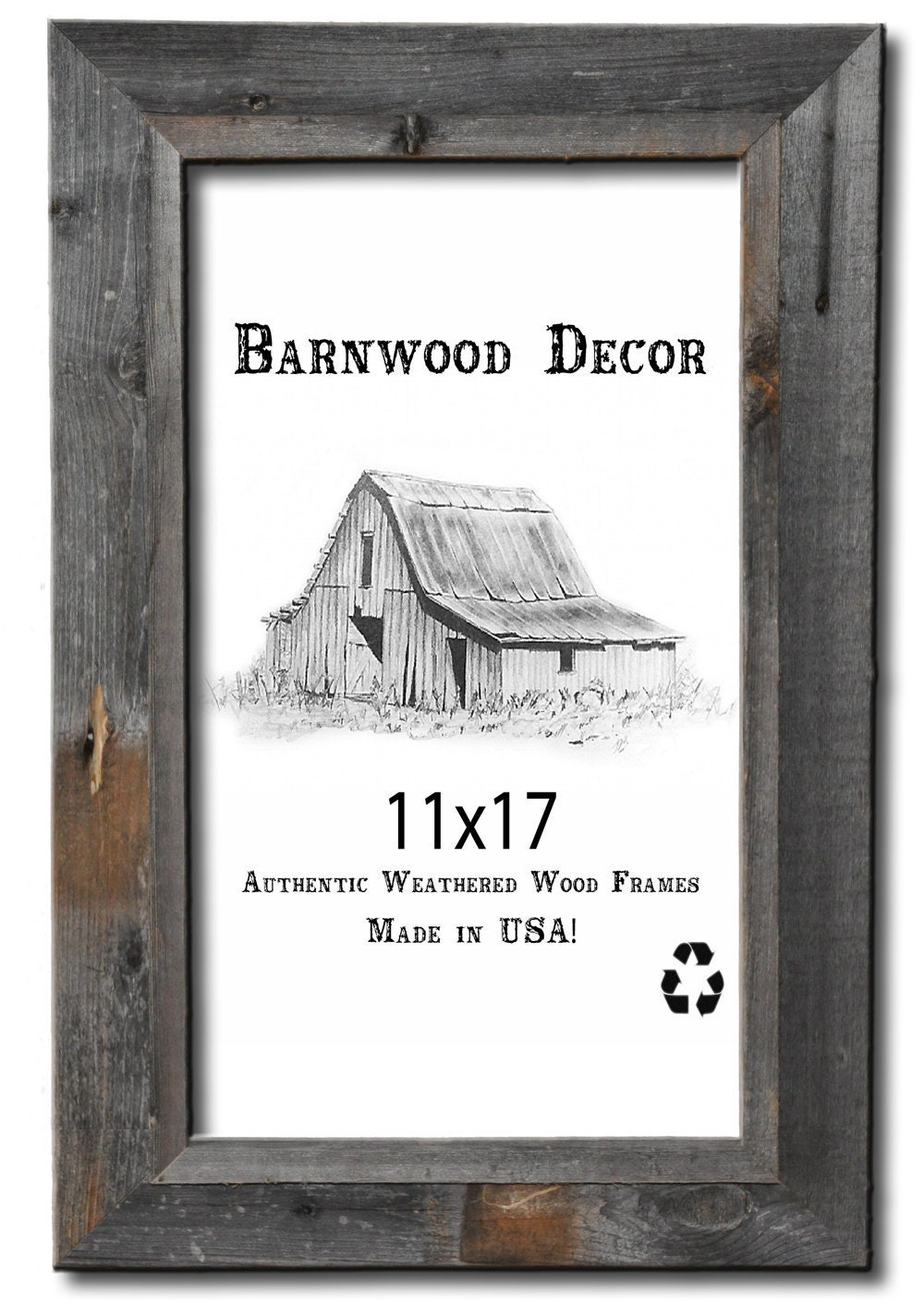11x17 Picture Frames Barnwood Reclaimed Signature Wall Frame