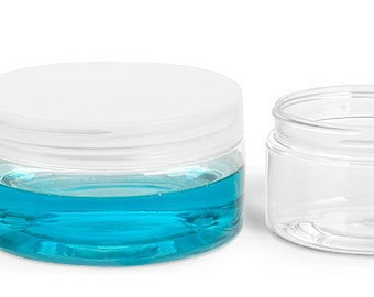 4 oz. PET Clear Jars with Natural or Black Lids, Perfect for Creams, Srubs, Lotions and More, Set of 4