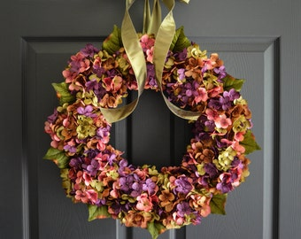Beautiful Wreaths | Blended Hydrangea Wreath | Summer Wreaths | Front Door Wreaths | Fall Wreath | Outdoor Wreaths | Summer Wreath