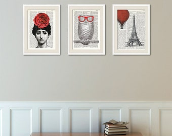 SET three Dictionary Art Prints, Woman with flower, Owl with red glasses, Eiffel tower, hot air balloon, Collage, Triptych, Wall Art, #146