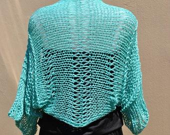 Aqua summer shrug, loose weave shrug, aqua cropped sweater, aqua bolero, handknit cotton shrug, summer cotton, aqua bridal wrap, beach top