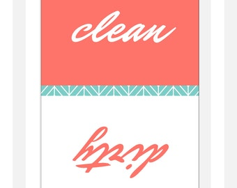 "Clean Dirty Dishwasher Magnet - Classic - 2.5"" x 3.5"" - Christmas Stocking Stuffer"