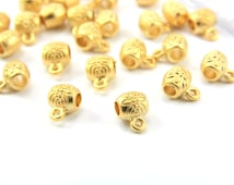 20pcs Gold Bail Links, 24k Gold Plated Tiny Charm Holder Beads, Gold Spacer Bead, Gold Bail Link Charms, Gold Bail Links / GPY-052