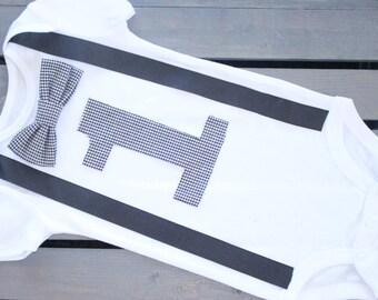 First birthday baby boy onesie, Bowtie suspender onesie , Black and white first birthday onesie