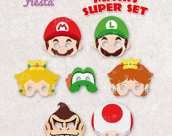 Mario bros Inspired Super set Mario, Luigi, Yoshi, Donkey kong, Toad, Princess Daisy and Peach Masks print birthday Instant Digital File DIY