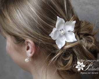 Peigne mariage cheveux grande fleur en soie - Bridal large silk flower haircomb