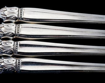 4 Vintage Silver Plated Knives Danish Princess Hollow Handle Dinner Knife Holmes and Edwards Vintage Silver Plate Gifts Under 20