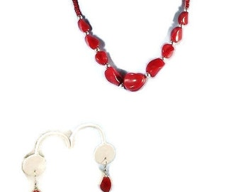 Deep Red Single Strand Beaded Necklace and Earring Set Gift for Her Under 20 Free Shipping to USA