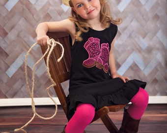 Girl Cowgirl Dress with Sparkly Pink Cowgirl Boots and Embroidered Name
