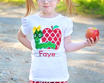 Girl School Shirt with Apple and Worm and Embroidered Name