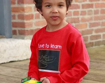 Boy Back to School 'Love to Learn' Chalkboard Shirt