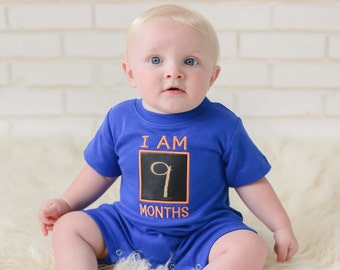 Baby Boy Monthly Chalkboard Romper - Royal Blue with Orange